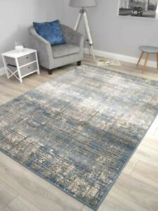 Dark Blue Grey Modern Distressed Rugs Small Extra Large Floor Carpets Soft Thick