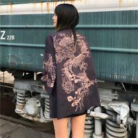 Women Japanese Kimono Coat Yukata Outwear Tops Vintage Dragon Cardigan Haori New