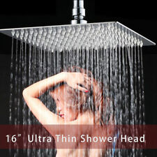 "16"" Rainfall Shower Head Ceiling Mounted Bathroom Chrome Square Mixer Sprayer"