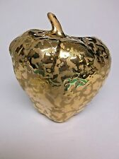 Vintage Wall Pocket Weeping Gold 24kt Gold on Porcelain Apple Wall Pocket USA