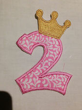 Embroidered Number 2 applique with Crown iron on /sew on patch