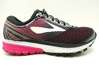 Brooks Ghost 10 Black Pink Knit Lace Up Athletic Running Shoes Women's 6.5 D