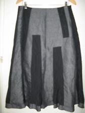 Skirt 10 Yvonne Black linen/cotton grey & black panels fully lined work classic