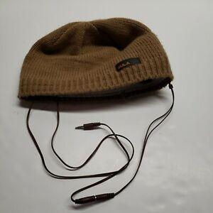 BULA brown Knit Beanie Winter Ski Snowboard Hat With Audio Speaker wire