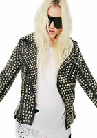 Woman Black Punk Full Silver Studded Brando Cowhide Leather Jacket