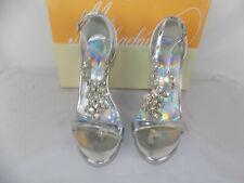 "David's Bridal Wedding Shoes Silver Starburst Michaelangelo Sz 6 4.5"" Heels"