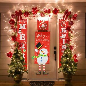 Red Merry Christmas Porch Sign Xmas Hanging for Home door Banner