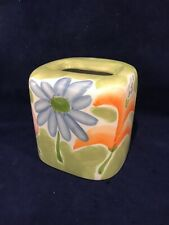 Ceramic Tissue Box Whimsical Flowers Green Blue Pink Orange Nwt Excellent Cond
