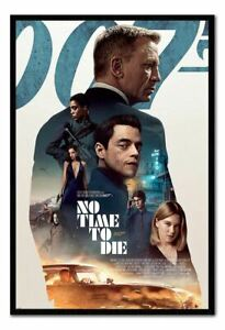 James Bond No Time To Die Profile FRAMED CORK PIN BOARD With Pins | UK Seller