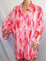 Southern Lady Women Plus Size 3x Coral Pink Button Down Shirt Top Blouse