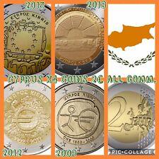 Cyprus Coins Set 4x All Differemt Commemorative 2009 2012 2015 2018 New UNC