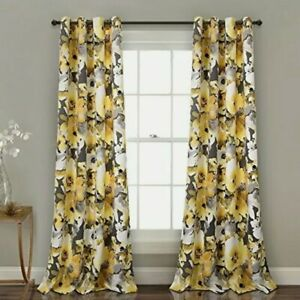 Lush Decor Floral Watercolor Room Darkening Window Curtain Panels Yellow/Gray