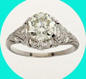 Platinum Deco 1.80CTW diamond engagement ring filigree 1.58C VVS Euro cut detail