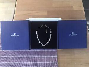 Swarovski Halskette Angelic Square, neu mit Geschenkverpackung, Vergoldet,