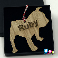 Personalised Dog Puppy Xmas Wooden Oak Decoration Bauble 140 Breeds available!