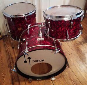 60's Sonor Teardrop l 20x14 ,13x8 ,16x16 rot Pearlmut,red Vintage Schlagzeug
