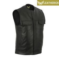 Mens SOA Anarchy Waistcoat Real Cowhide Leather Cut Black Premium Biker Vest UK