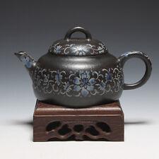 OldZiSha-Rare China Yixing ZiSha Old Blue Enamel Painted Small 160cc Teapot