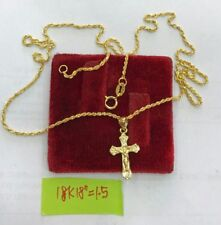 Gold Authentic 18k saudi gold cross necklace,,18 inches chain,k
