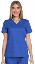 Dickies Women's Short Sleeve Patch Pockets Side Vents Comfort V-Neck Top. Gd600