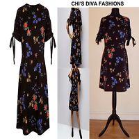EX NEW LOOK Petite Black Floral Tie Sleeve Mini Dress 8, 10,12, 14, 16