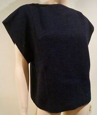 ETRO Italy Black & Navy Check 100% Wool Scoop Neck Short Sleeve Top 44 UK12