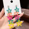 Women Colorful Star Drop Dangle Stud Long Ear Studs Acrylic Earrings Jewelry