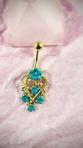 14g Belly Button Ring Yellow Gold Dangle Charm - Turquoise Flowers