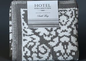 """HOTEL COLLECTION PEWTER & WHITE 100% Cotton Jaquard  Bath Rug 32"""" x 20"""""""