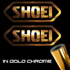 """2x Shoei Decal Stickers 3.0"""" x 1.1"""" gold chrome logo motorcycle"""
