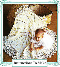 Vintage crochet pattern-how to make a pretty circular flower baby heirloom shawl