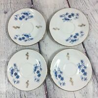 "4 Lucru Manual Demitasse Saucers Romanian Blue & White Floral Decor - 4.5"""