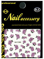 Nagelsticker Blumen Rosa Pink Nail Art Sticker Nagelaufkleber Selbstklebend 728d