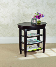 Greenhurst Swivel Top Coffee Side Table Storage Compartment 3 Shelves Mahogany