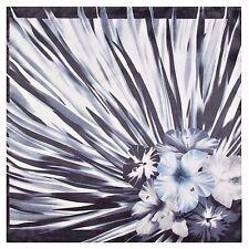 "Silk Blend Black & White Hibiscus Scarf Bandanna 23"" X 23"" Neckerchief Floral"