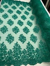 Hunter Green_ Floral Embroider Mesh Lace Fabric By Yard Metallic Corded Flowers
