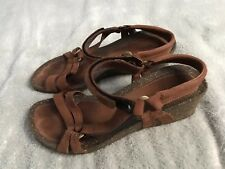 Teva Womens Brown Cork Ankle Strap Leather Wedge Sandals 8.5 4220 SC8