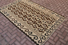 Natural Brown Cream Color Turkish Large Hand Woven Tribal Carpet Kilim Rug