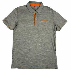 Icebreaker Merino Wool Natural Mens Athletic Heathered Polo Shirt Orange Medium