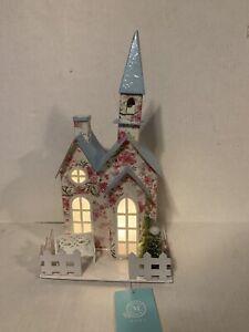 "Martha Stewart Christmas Putz House/Church Led Light-Up 13"" Tall"