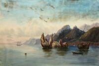 Küstenlandschaft mit markanten Felsen und Höhenburg, um 1800, Aquarell