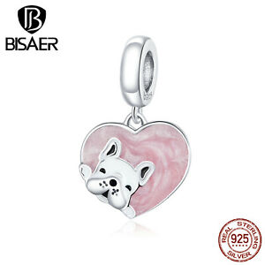 Bisaer Women Authentic S925 Sterling Silver Puppy with Love Charm Fit Bracelets