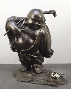 Japanese Taisho Bronze & Silver Okimono - Buddha, Signed