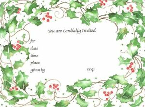 Holly Berry Party Invitations - Cordially Invited Green & Red Trim - Set of 10