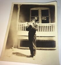 Antique American Military Musical Band Member! Uniform & Instrument! US Photo!