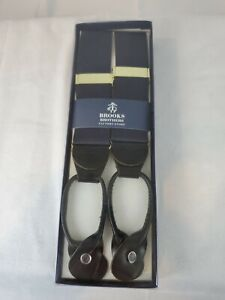 BROOKS BROTHERS NAVY BLUE FABRIC w/ BLACK LEATHER TABS SUSPENDERS BRACES - NEW