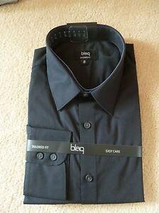 Blaq Tailored Fit Business Long Sleeve Shirt Black 41/42   W44