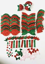 Elf Hairbow Set- Make Your Own Bows- Christmas Bow Supplies- Die Cut Bows