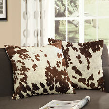 Tribecca Faux Cow Hide Print Home Stylish Decorative Throw Pillows (Set of 2)
