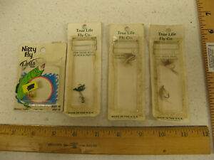 (4) True Fly Co & Betts Nitty Fly Vintage Flies Lot Trout Bass Salmon Panfish